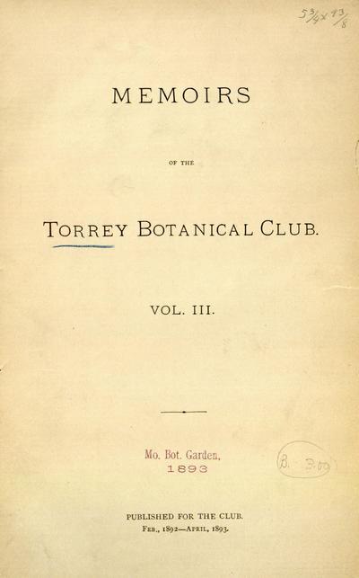 Memoirs of the Torrey Botanical Club.