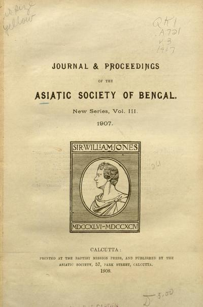Journal and proceedings of the Asiatic Society of Bengal.