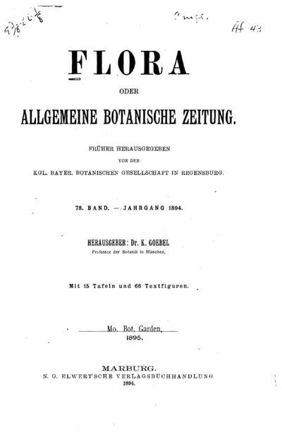 Flora oder Botanische Zeitung :welche Recensionen, Abhandlungen, Aufsätze, Neuigkeiten und Nachrichten, die Botanik betreffend, enthält /herausgegeben von der Königl. Botanischen Gesellschaft in Regensburg.
