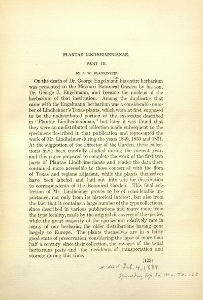 Plantae Lindheimerianae : an enumeration of F. Lindheimer's collection of Texan plants, with remarks and descriptions of new species, etc. / by George Engelmann and Asa Gray.