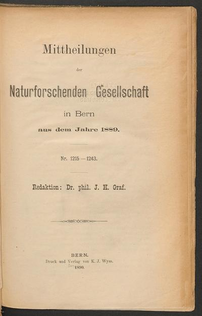Mittheilungen der Naturforschenden Gesellschaft in Bern.