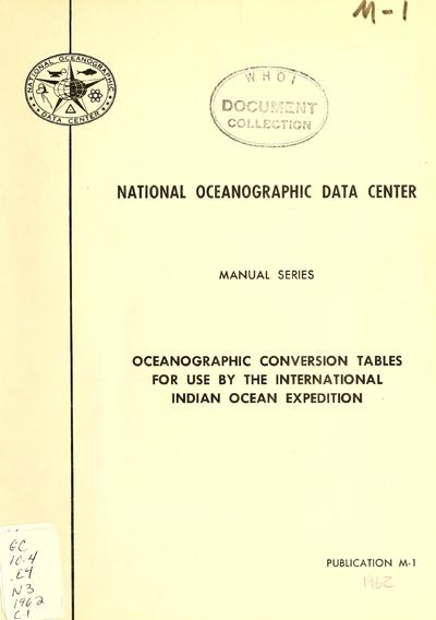 Oceanographic conversion tables for use by the International Indian Ocean Expedition.