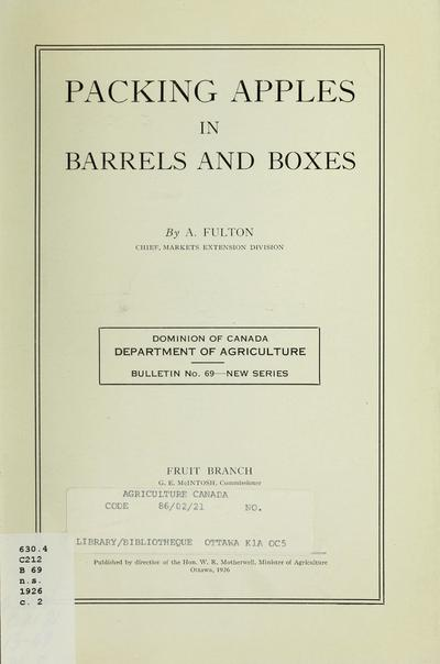 Packing apples in barrels and boxes / by A. Fulton.