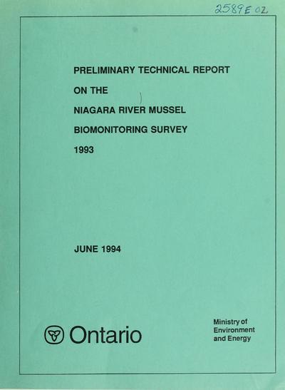Niagara River mussel biomonitoring survey, 1993
