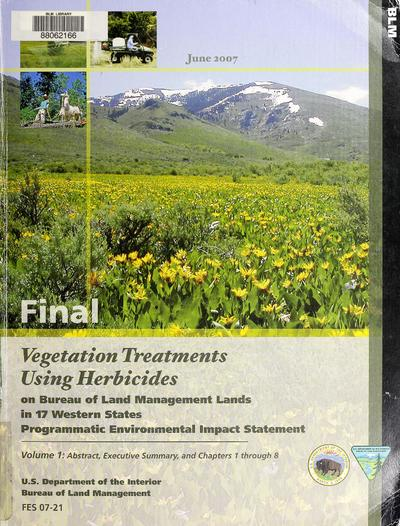 Final programmatic environmental impact statement vegetation treatments using herbicides on Bureau of Land Management lands in 17 western states