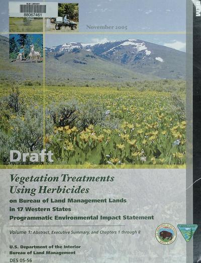 Draft programmatic environmental impact statement vegetation treatments using herbicides on Bureau of Land Management lands in 17 western states