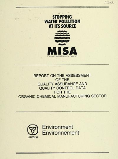 Report on the assessment of the quality assurance and quality control data for the organic chemical manufacturing sector / report prepared by S. Michajluk and D. Boyd.