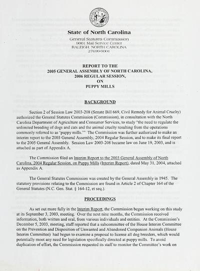 Report to the 2005 General Assembly of North Carolina, 2006 regular session, on puppy mills.