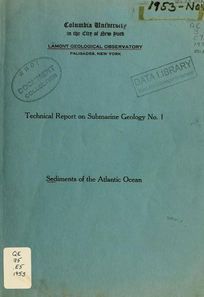 Sediments of the Atlantic Ocean / by David B. Ericson.