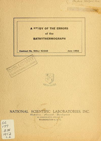 A study of the errors of the bathythermograph / by A.L. Bralove, E.I. Williams, Jr.