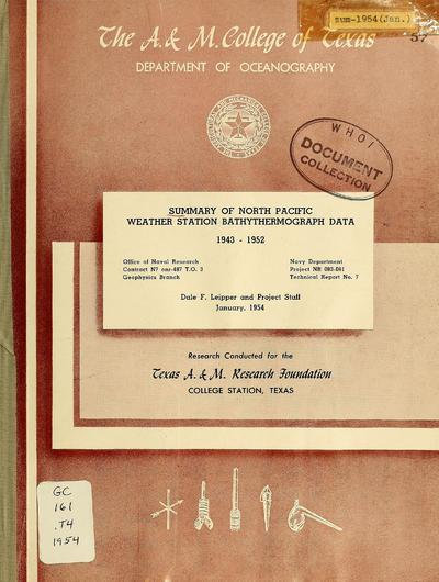 Summary of North Pacific weather station bathythermograph data, 1943-1952 / Dale F. Leipper and project staff.