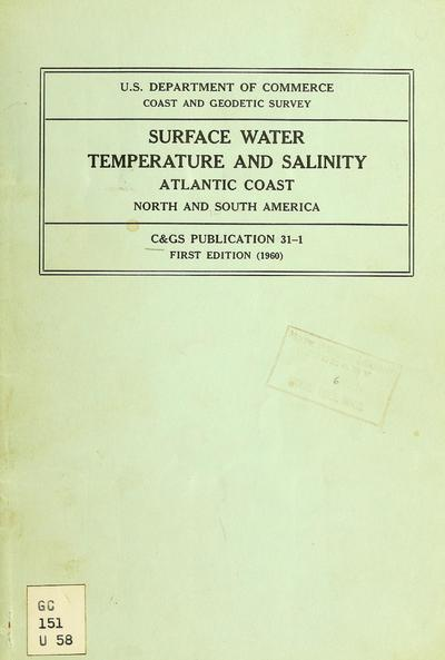 Surface water temperature and density : Atlantic Coast, North and South America.