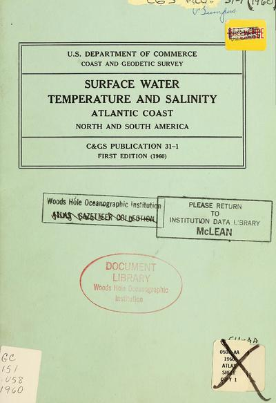 Surface water temperature and salinity, Atlantic coast, North and South America.