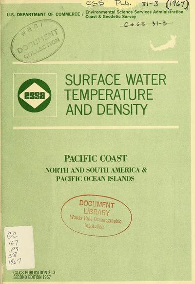 Surface water temperature and density, Pacific coast, North and South America & Pacific Ocean islands.