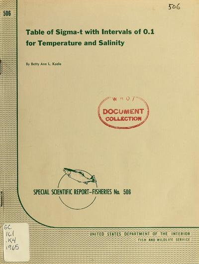 Table of sigma-t with intervals of 0.1 for temperature and salinity / by Betty Ann L. Keala.