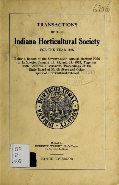 Transactions of the Indiana Horticultural Society for the year ... : being a report of the ... annual meeting