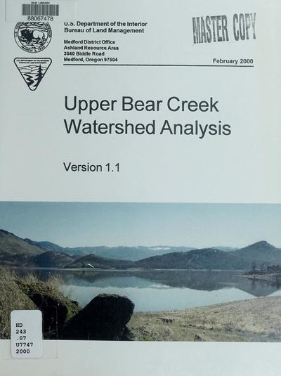 Upper Bear Creek watershed analysis : version 1.1.