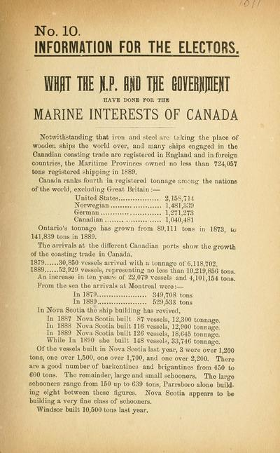 What the N.P. and the government have done for the marine interests of Canada.