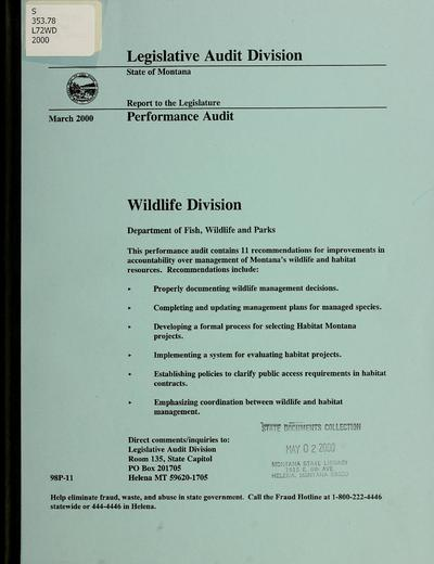 Wildlife Division, Department of Fish, Wildlife and Parks : performance audit.