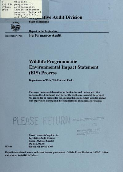 Wildlife programmatic environmental impact statement (EIS) process, Department of Fish, Wildlife and Parks : performance audit.