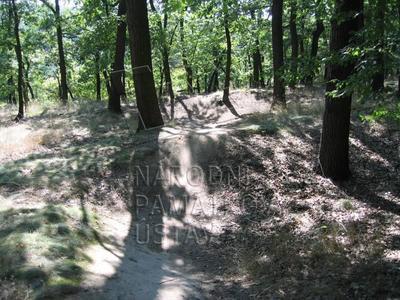 Praha 4, Kunratice, v Kunratickém lese, polní opevnění před Novým hradem, archeologické stopy
