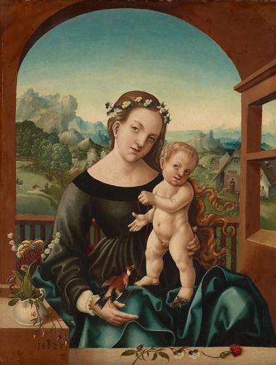 Maria mit Kind und Stieglitz