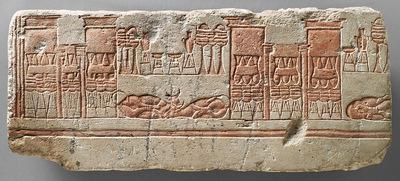 Relief (Talatat) mit der Darstellung eines Tempelhofes
