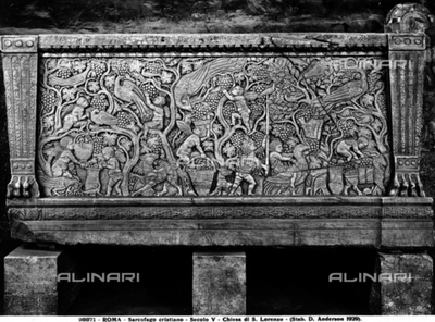 Christian sarcophagus with harvest scenes, preserved in the portico of the Basilica of S. Lorenzo fouri le Mura, Rome.
