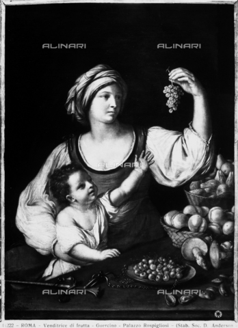 Fruit seller, painting attributed to Guercino, preserved in the Pallavicini Rospigliosi Gallery, Rome
