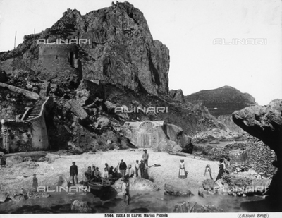Group of fishermen on the Marina Piccola beach on the Isle of Capri