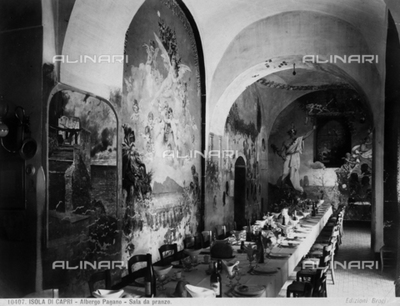 The dining room in the Albergo Pagano (Pagano Hotel) in Capri.
