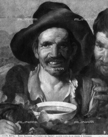 Drinkers, pastel from a work of Velasquez (detail of the work of the Museum of Capodimonte in Naples).