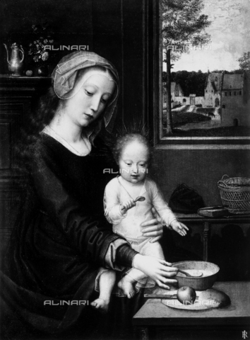 Virgin feeding the Child; attributed to Hans Memling, in the Palazzo Bianco of Genoa