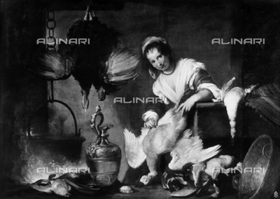 Painting of a cook busy plucking a goose's feathers, work exhibited at the Palazzo Rosso Gallery in Genoa.