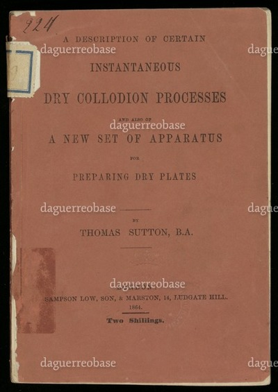 A description of certain instantaneous dry collodion processes and also of a new set of apparatus for preparing dry plates