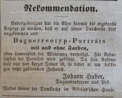 Advertisement of Johann Huber of Pest, in the Temeswarer Wochenblatt