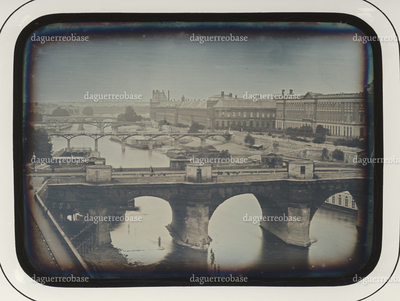 City scenery, bridges crossing the river (Paris, Seine, Pont Neuf)