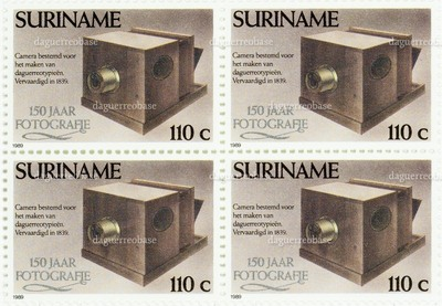 commemorative postal stamp from Suriname with an image of Daguerre's camera - 150 jaar fotografie