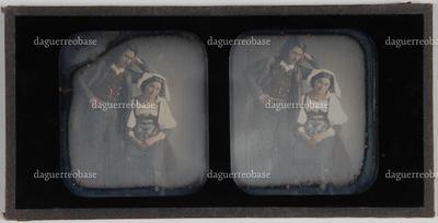 genre tafereel; jonge vrouw (zie HMR-34547-5) zittend, en jonge man (zie HMR-34547-2 en -4) staand naast haar en met elleboog leunend achter het hoofd van de vrouw