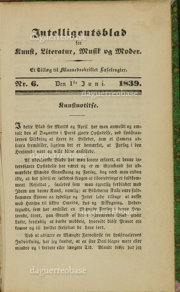 Intelligentsblad for Kunst, Literatur, Musik og Moder ...No. 6-1839