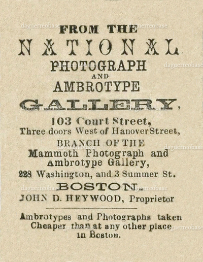 Heywood, John D. National Photograph and Ambrotype Gallery
