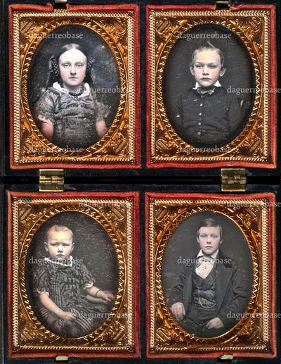 Kinder der um 1860 nach Amerika ausgewanderten Familie Lohsen aus Loxstedt, Kreis Geestemünde. Die Eltern mit dem jüngsten Kind sind separat daguerreotypiert worden, siehe ergänzend VM 026682.