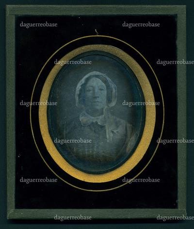 The daguerreotype is in a good condition of conservation. The image is visible, there is tarnish on the edges of the plate.