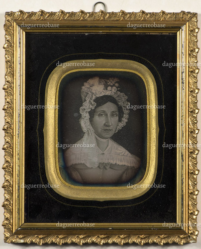 Photographed painting or drawing of Agathe Dahll Klem (09.08.1790 - 10.02.1840) with headwear.  She was married to vicar Gustavus Klem (Stokke).