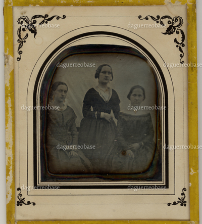 Portrait of three woman, posing in front of a neutral backdrop