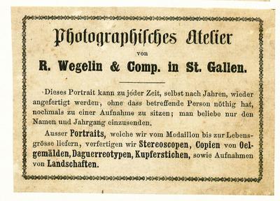 Etikett von R. Wegelin & Comp.