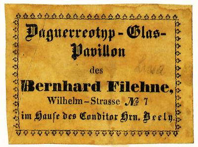 Filehne war in den ersten Jahen offenbar Wanderfotograf, er ist 1842, 1844 und 1845 bis 1865 in Posen nachweisbar, 1850 hielt er sich auch in Thorn auf.