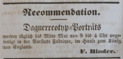 advertisement of Friedrich Binder in the Temeswarer Wochenblatt