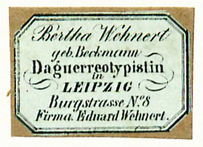 Etikett von Bertha Wehnert, geb. Beckmann