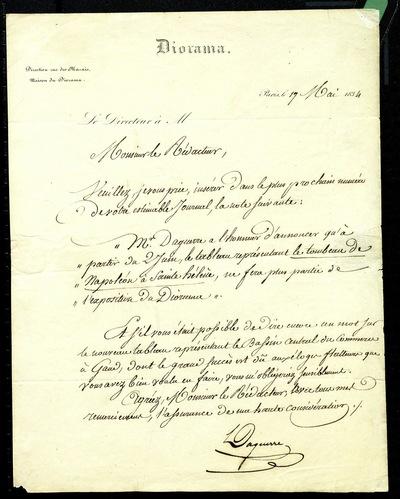 Handschrift von Daguerre. In dem Brief bittet er den Redakteur um Veröffentlichung einer Anzeige zu einer Präsentation im Diorama.